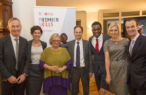 Richard Scudamore, British Council's Rebecca Zylberman, Jo Beall, Emmanuel Kattan, Robbie Earle, Rebecca Lowe, and Consul General Danny Lopez. Photos by Prue Loney.