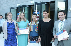 New Chevening Scholars Keti, Natia and Tornike with Embassy political officers Sophiko Katsarava and Charlotte Hunter