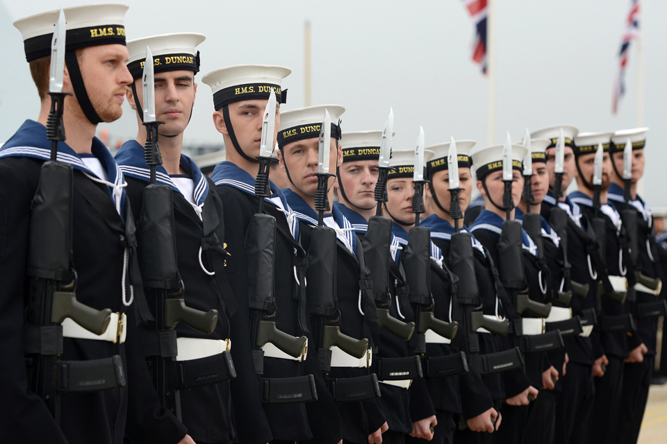 Members of HMS Duncan's ship's company
