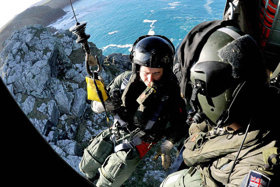 Members of 771 Naval Air Squadron during a cliff-winching exercise (library image)