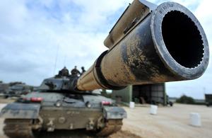 A Challenger 2 main battle tank on Lulworth Ranges