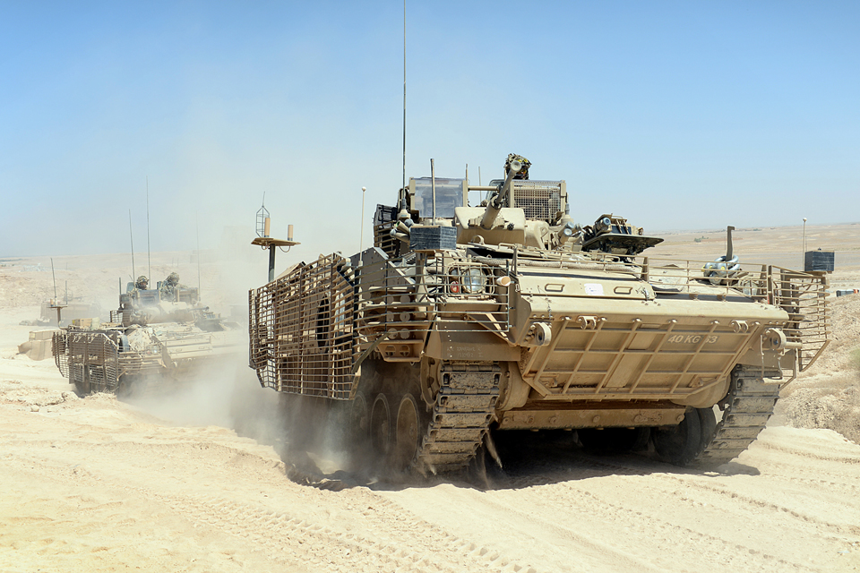 British armoured vehicles leave Patrol Base Ouellette