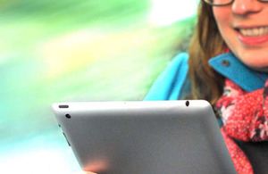 Passenger using tablet