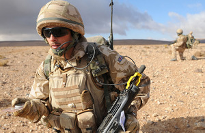 A soldier from 4th Mechanized Brigade during a training exercise in the Jordanian desert (stock image)