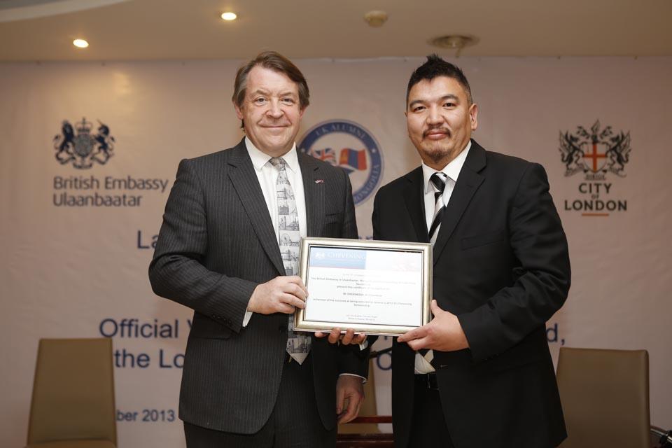 Chevening scholar Mr Erdenedalai Ch