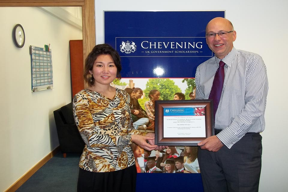 Chevening scholar Ms Shinebayar D