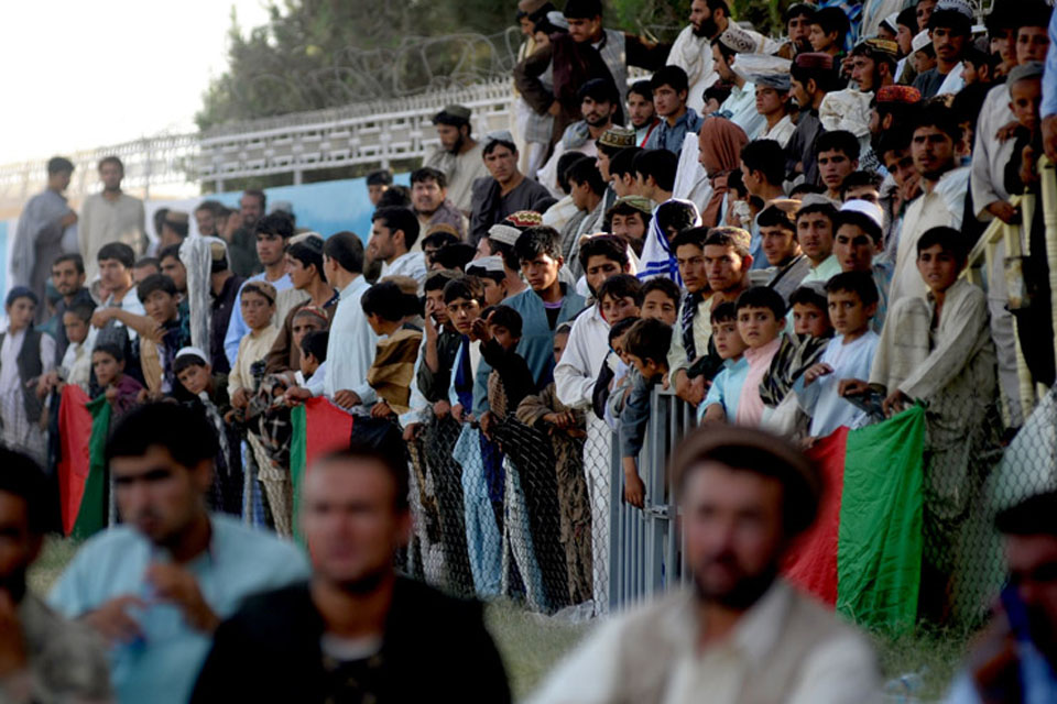 Many hundreds of Afghan spectators of all ages came to the Karzai Stadium in Lashkar Gah to support their teams