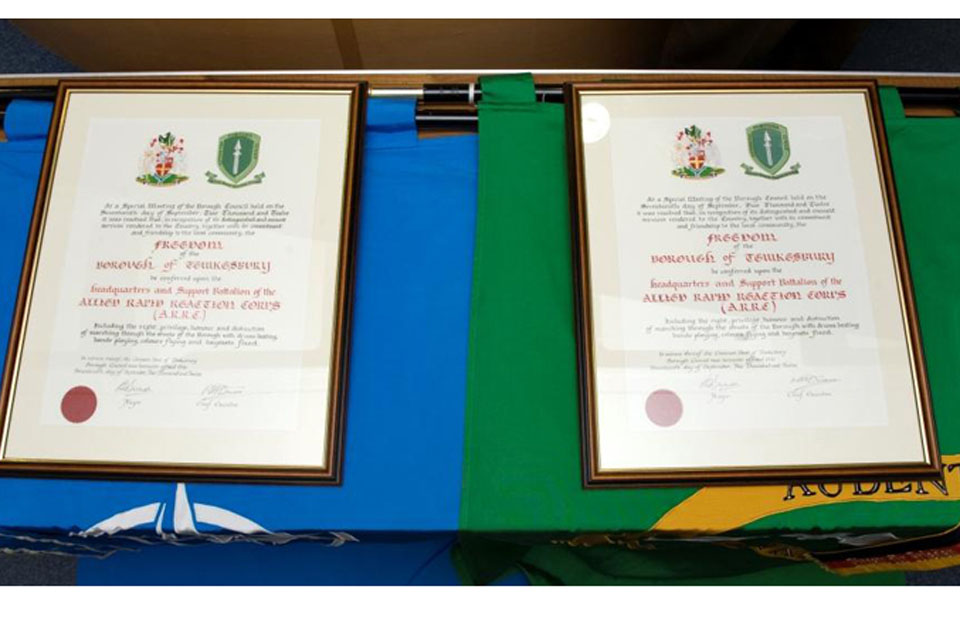 Freedom Scrolls presented to HQ ARRC and its Support Battalion by Tewkesbury Borough Council