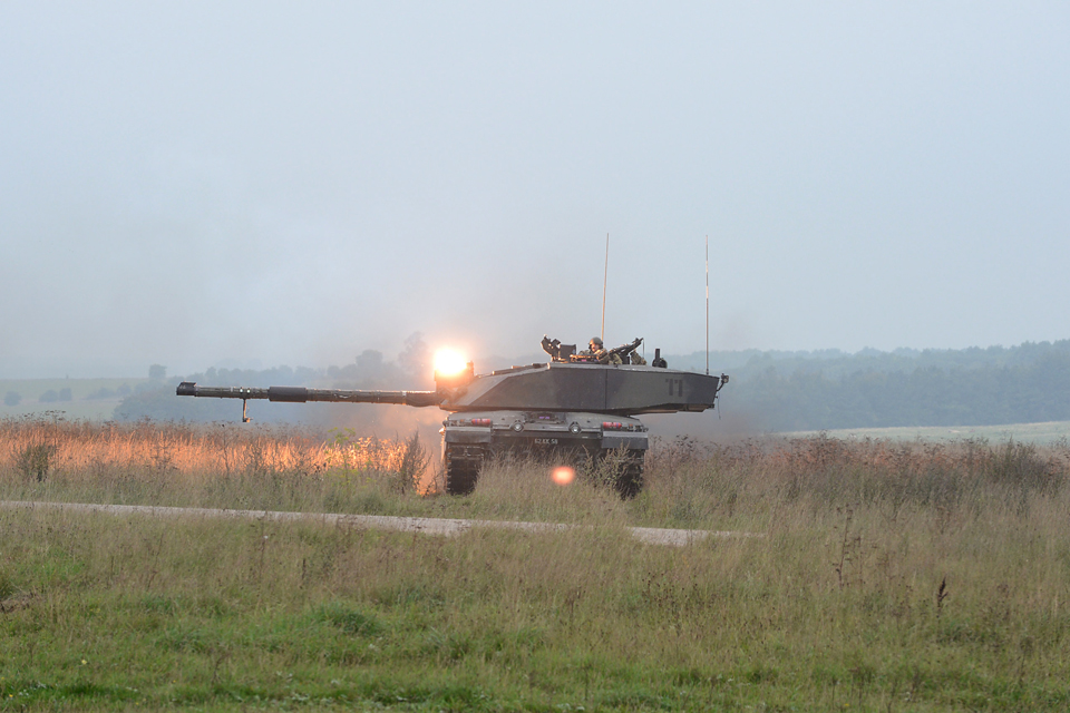 A Challenger 2 engages an enemy position