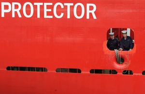 Members of HMS Protector's ship's company preparing to come alongside at Portsmouth