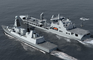 Artist's impression of a new Royal Fleet Auxiliary tanker completing a replenishment at sea with a type 45 Destroyer