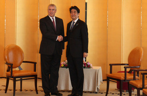 His Royal Highness The Duke of York meets with Japanese Prime Minister Shinzo Abe before the RUSI Conference