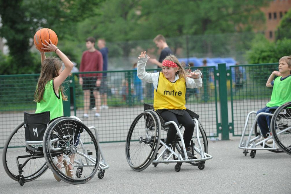 Children in wheelchairs playing basketball