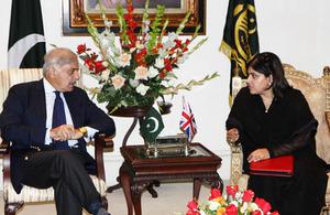 Baroness Sayeeda Warsi in meeting with Punjab Chief Minister Shahbaz Sharif.