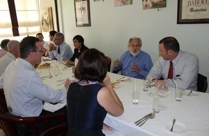 British Business Group Members dine with Lord Puttnam in Vientiane on Monday.