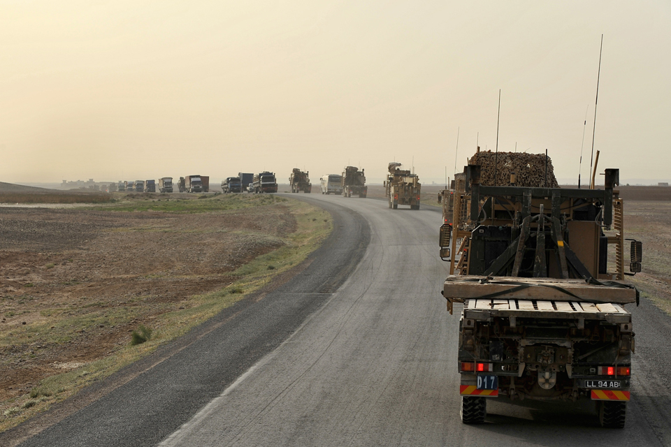 Vehicles from 3 Logistic Support Regiment taking part in a combat logistic patrol