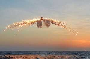 A Merlin helicopter deploys decoy flares (library image) [Picture: Leading Airman (Photographer) Maxine Davies, Crown copyright]