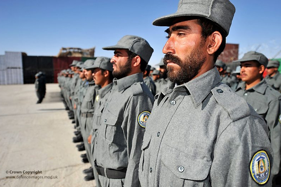 Recruits for the Afghan National Police line up on parade