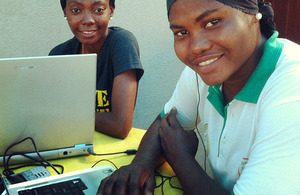 Software developers Mariam and Uche, online at a 'tech hub' in Lagos, Nigeria. Picture: Russell Watkins/DFID