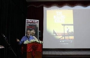 Lord Puttnam lecturing at Film Masterclass