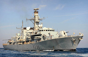 Royal Navy Type 23 frigate HMS Monmouth during operations in the Gulf (stock image)