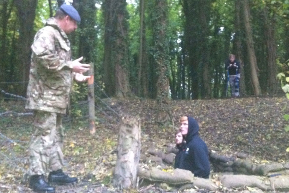 The Saracens rugby players visited the trenches built at RAF Halton to train soldiers to fight in the First World War