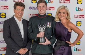 From left: Michael McIntyre, Lance Corporal Matthew Wilson with his Pride of Britain Special Recognition Award and Katherine Jenkins [Picture: Adam Sorenson, Daily Mirror Pride of Britain Awards]
