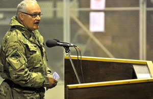 General Sir Peter Wall addresses British personnel at Camp Bastion in Helmand province, southern Afghanistan (stock image)