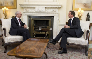 David Cameron discusses EU priorities for the autumn with the President of the European Council at Downing Street.