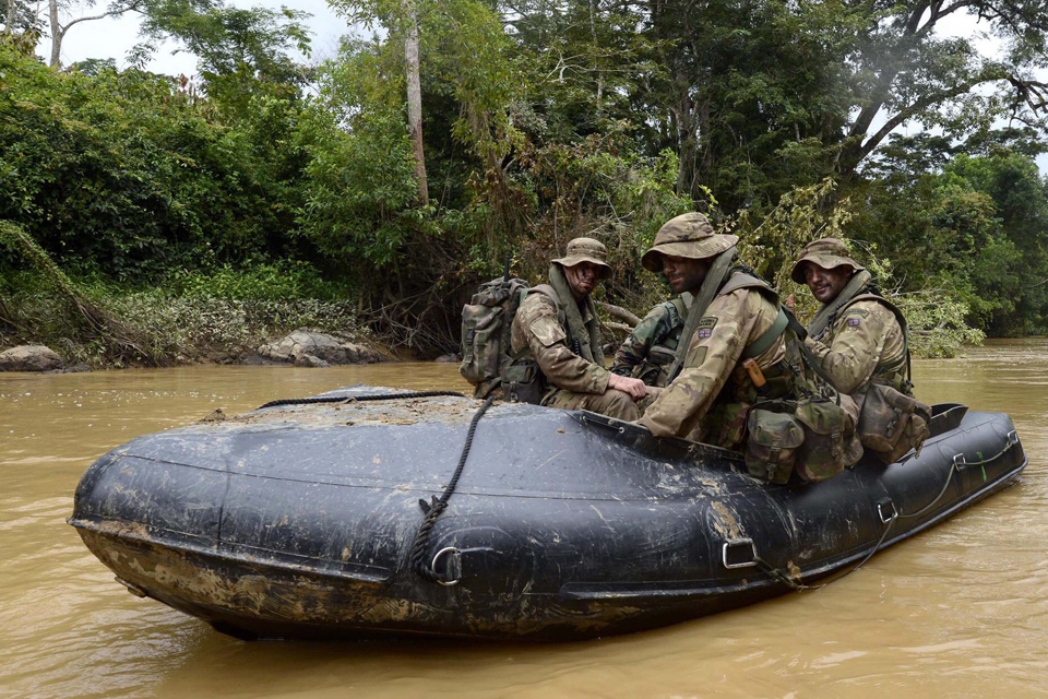Royal Marines in an inflatable boat
