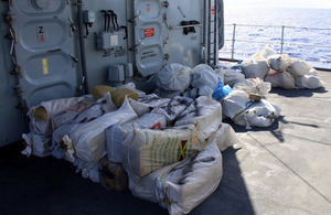 Recovered drug bales on board HMS Lancaster [Picture: Leading Airman (Photographer) Jay Allen, Crown copyright]