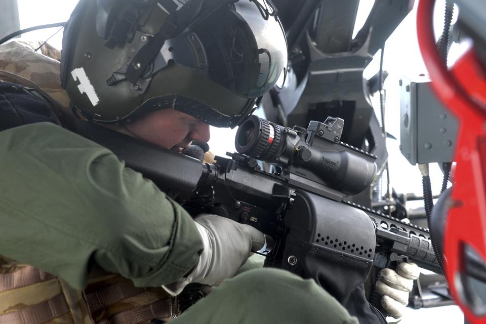 A member of HMS Lancaster's maritime sniper team