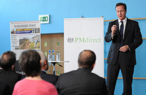 Prime Minister David Cameron delivering a speech