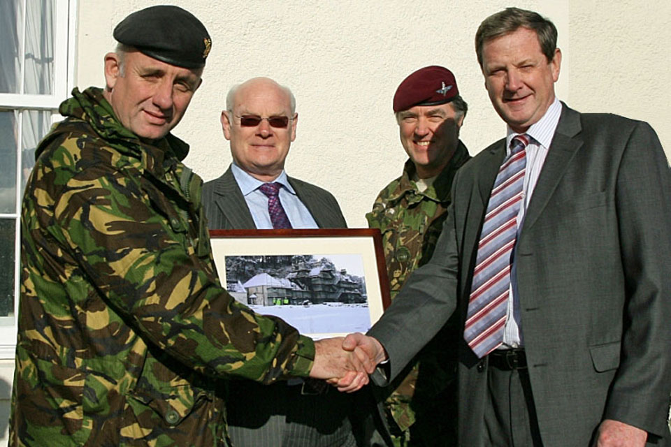 Marking completion of the restoration of Balmacara House. L-R-Colonel Mark Waring, Commander DTE, John Rennie, Deputy Head DIO Ops N (EM Scotland), Lt Col Peter Hollins, Commander DTE Scotland, James Morice, TES Operations Manager North.