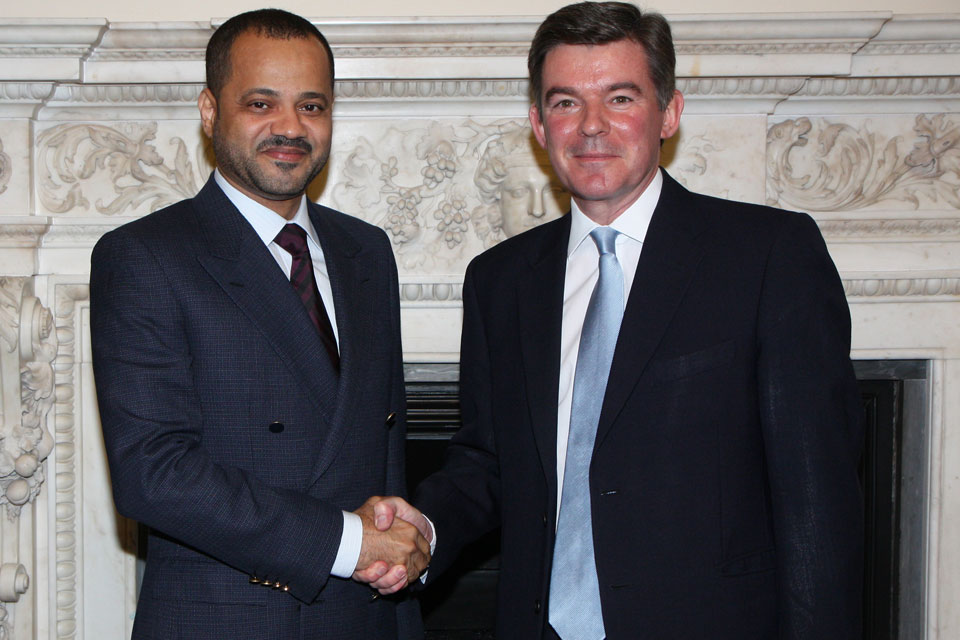 Foreign Office Minister Hugh Robertson with His Excellency Sayyid Badr Hamed Al Busaidi, Omani Secretary General of the Ministry of Foreign Affairs.