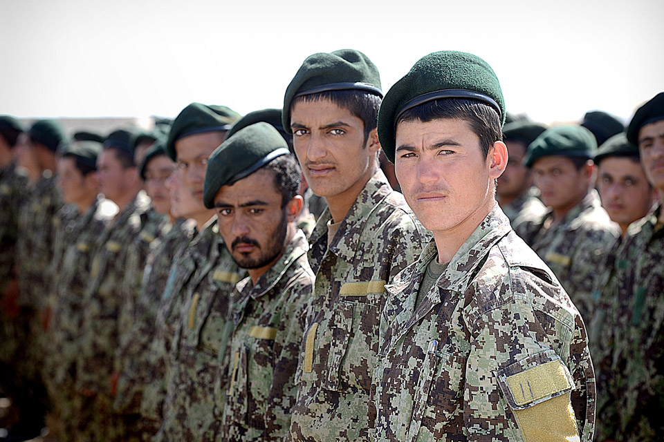 Afghan troops on parade at the opening ceremony
