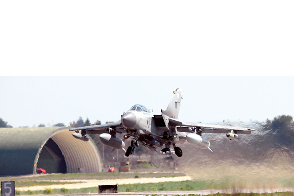 RAF Tornado GR4 aircraft takes off from Gioia del Colle air base in southern Italy (stock image)