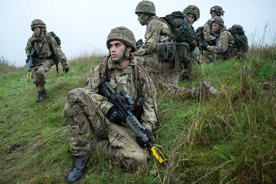 Reservist soldiers during an exercise on Salisbury Plain
