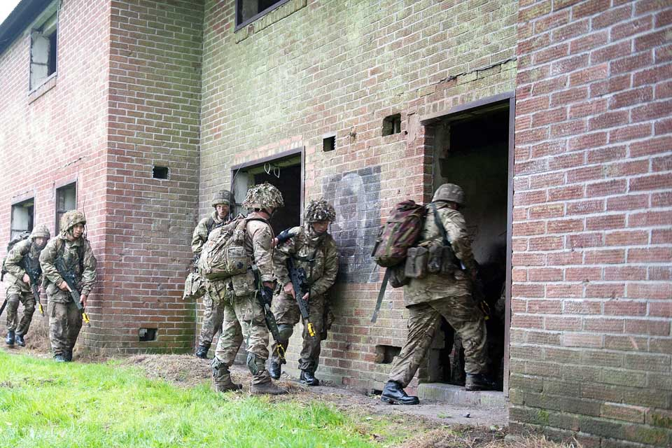 Reservist soldiers during an urban warfare exercise