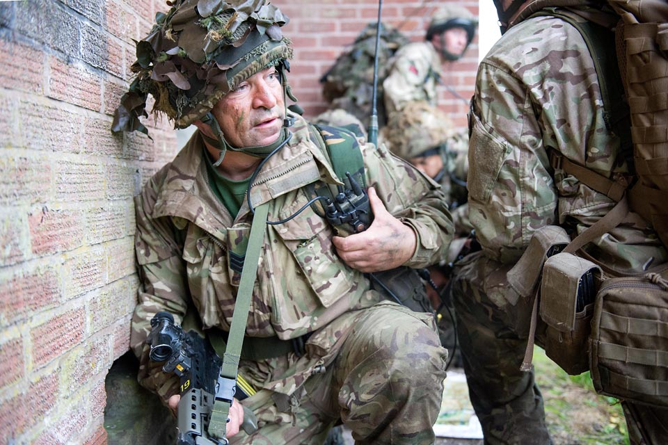 Reservist soldiers train to operate in an urban environment