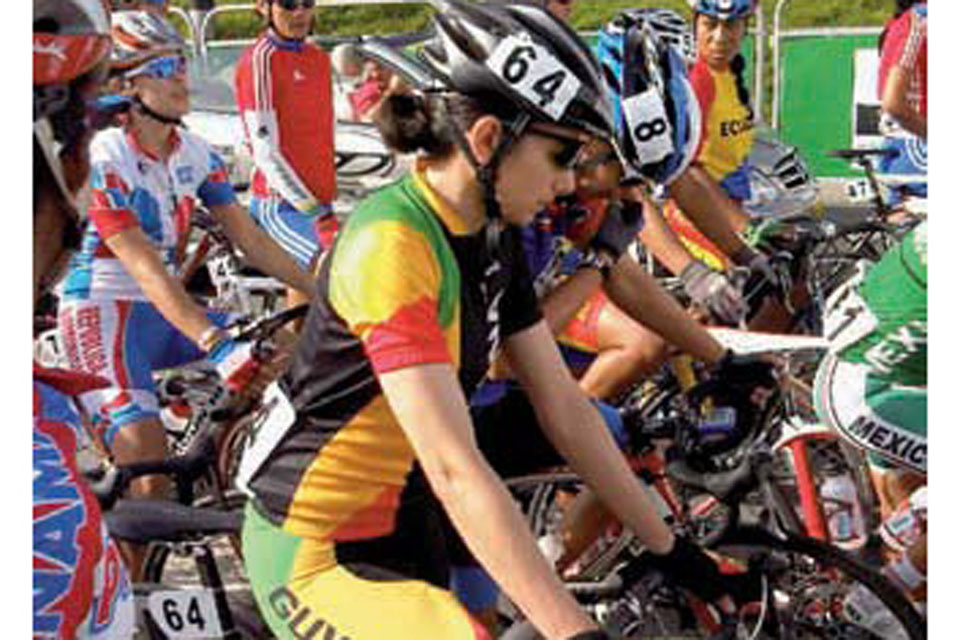 Major Claire Fraser representing Guyana in a cycling event to qualify for the Olympics