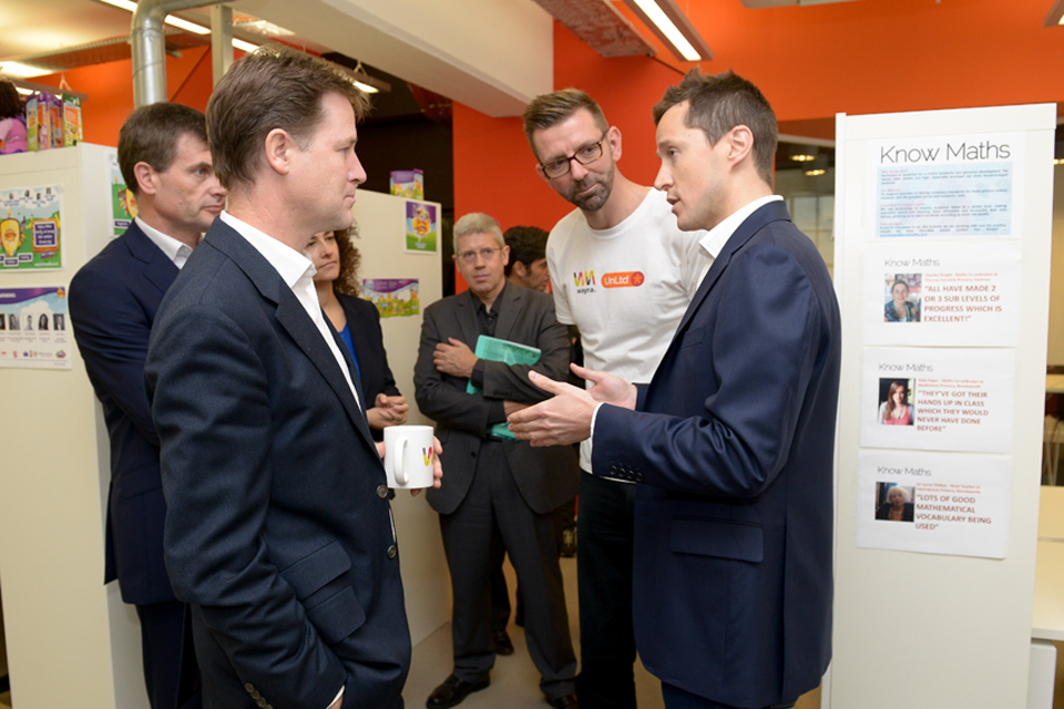 Deputy Prime Minister Nick Clegg opening new start-up accelerator Wayra UnLtd