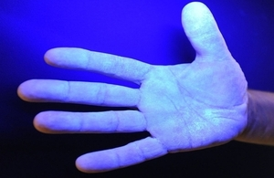 A hand in infra red lighting