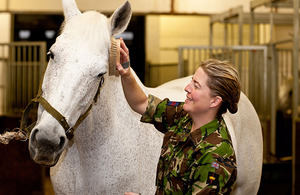 Warrant Officer Class 1 Esther Freeborn grooms her mount for the morning's riding lesson