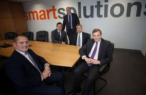 Secretary of State for Wales visited successful start up business, Smart Solutions Recruitment in Newport earlier this month. (L-R, Nathan Bowles, Steffan Edwards, Ieuan Rosser, John Hayward of Smart Solutions and David Jones MP).