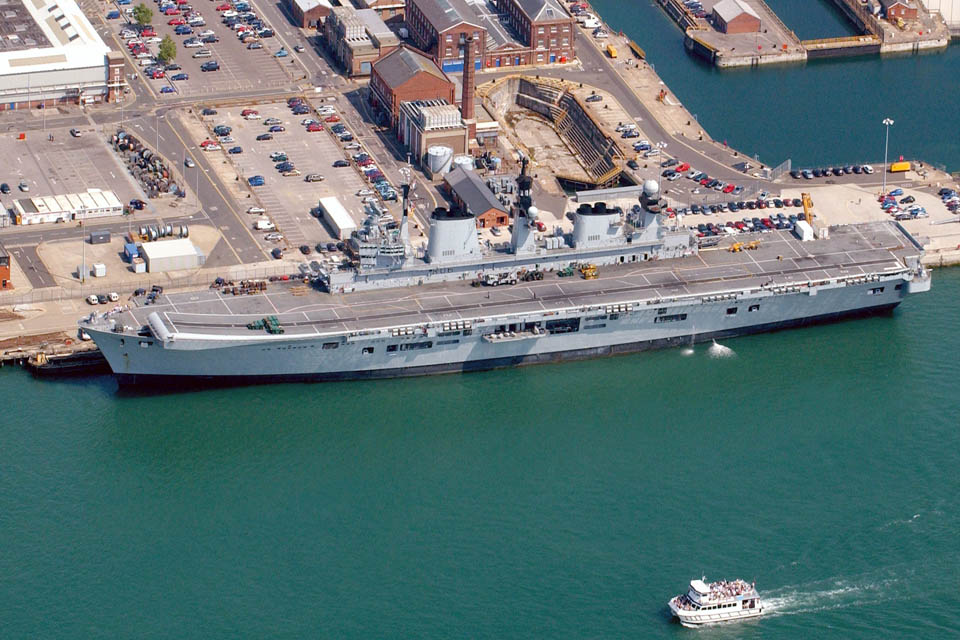 HMS Illustrious alongside at Portsmouth