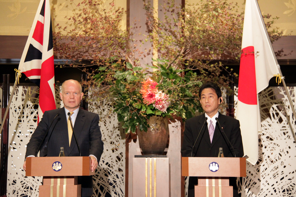 British Foreign Secretary William Hague and Japanese Foreign Minister Fumio Kishida speak at a press conference held at the Ministry of Foreign Affairs.