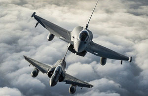 A Royal Air Force Typhoon from No 1 (Fighter) Squadron (top) and a French Air Force Mirage 2000N practise their formation flying skills [Picture: Sergeant Ralph Merry ABIPP RAF, Crown copyright]