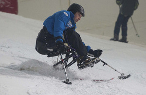 Officer Cadet Oliver Thorn is a member of the Combined Services Disabled Ski Team [Picture: Senior Aircraftman Dek Traylor, Crown copyright]