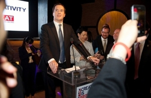 Chancellor, George Osborne hosted a Creativity is GREAT reception to showcase British innovation, tech and creative industries to China.